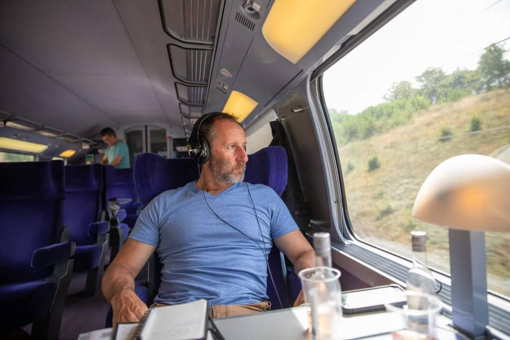 Neal on the TGV to Avignon