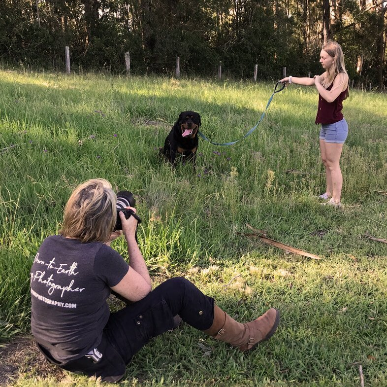 Jo Lyons Photography Behind the Scenes with a Rottweiler