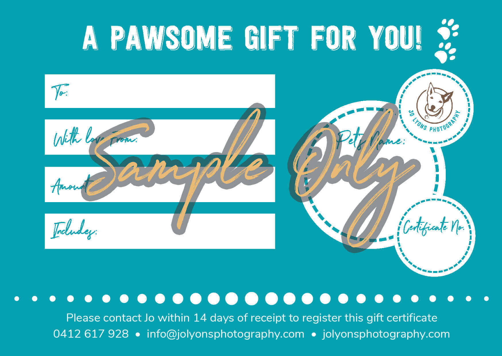 Jo Lyons Photography Gift Certificate Sample - Side 2