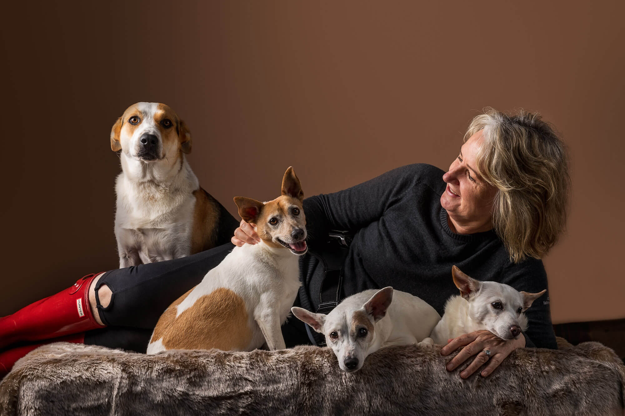 Jo Lyons and her beloved dogs