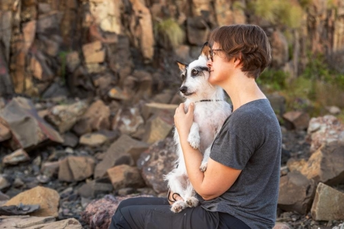A touching moment with Oscar and his mum at Bombo Rocks, NSW.Oscar has now crossed the rainbow bridge.Dogs ARE Family - Connecting the Love
